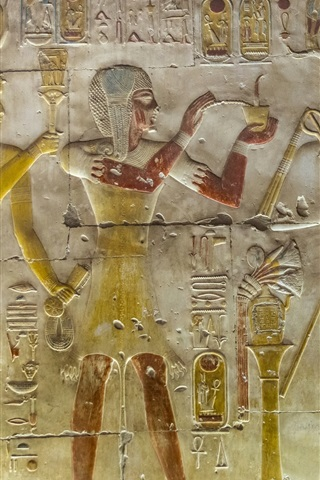 iPhone Wallpaper Abydos, Egypt, relief murals