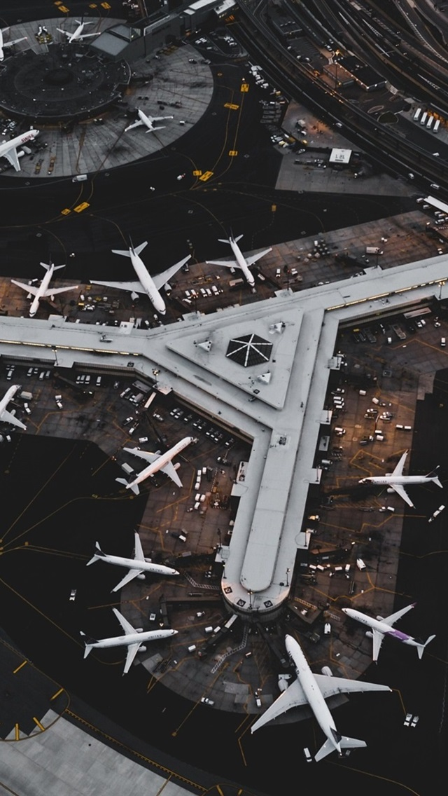 Airport, aircraft, top view 640x1136 iPhone 5/5S/5C/SE