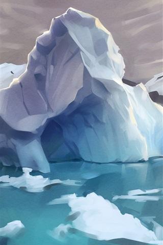 iPhone Wallpaper Arctic, iceberg, ice, water, art drawing