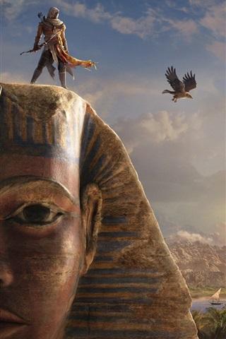 iPhone Wallpaper Assassin's Creed: Origins, Sphinx, Egypt