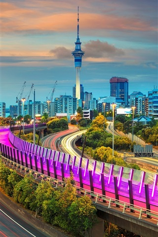 iPhone Wallpaper Auckland, New Zealand, roads, lights, tower, night
