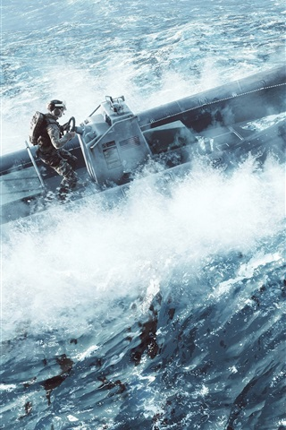 iPhone Wallpaper Battlefield 4, soldier, sea, speedboat