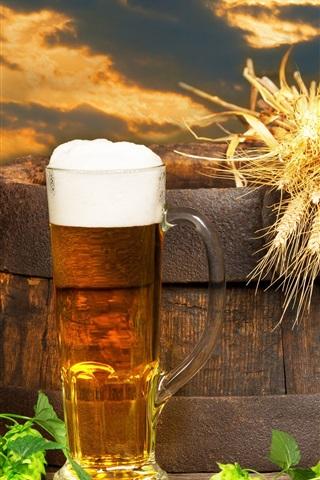 iPhone Wallpaper Beer, barrel, hops, foam