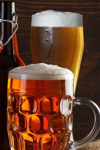 iPhone Wallpaper Beer, drinks, foam, bottles, glass cups