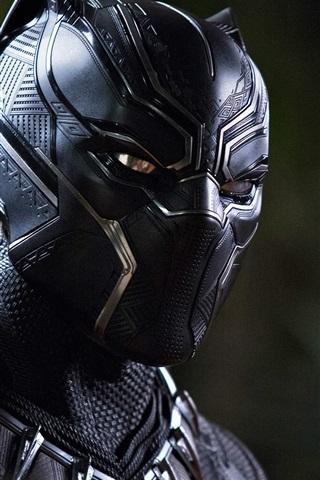 iPhone Wallpaper Black Panther, uniform, mask