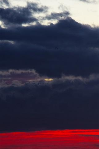 iPhone Wallpaper Black clouds, sky, sunset