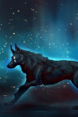 Black Wolf Walk At Night Starry Art Picture 640x1136 Iphone 5 5s 5c Se Wallpaper Background Picture Image