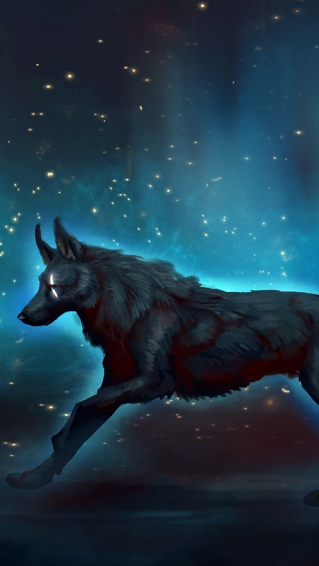 Black Wolf Walk At Night Starry Art Picture 640x1136