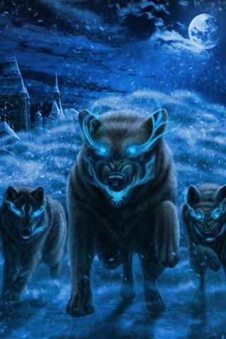 iPhone Wallpaper Black wolves, night, moon, magic, art picture