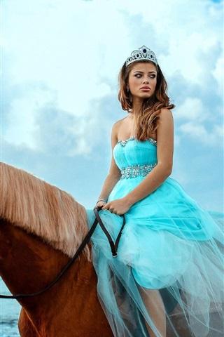 iPhone Wallpaper Blue skirt girl riding horse, sea, sky, clouds