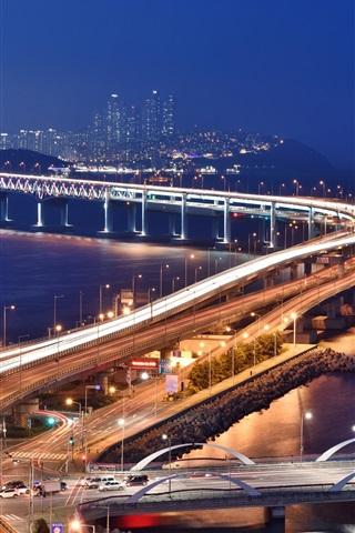iPhone Wallpaper Bridge, roads, lights, city, night