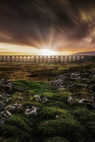 iPhone Wallpaper Bridge, sunrise, clouds, grass, hills