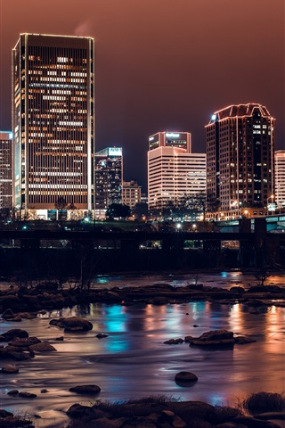 iPhone Wallpaper City night, river, bridge, buildings, lights