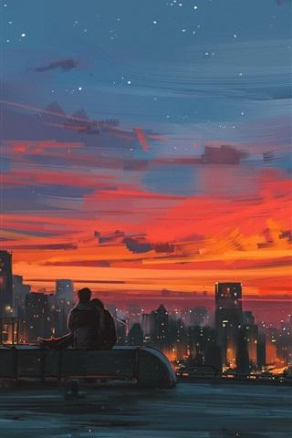 iPhone Hintergrundbilder Stadtnacht, Dach, Liebhaber, Kunstzeichnung
