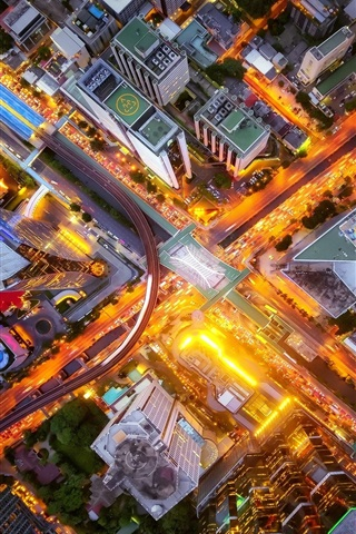 iPhone Wallpaper City top view, crossroads, street, buildings, lights, night