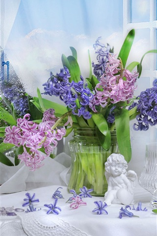 iPhone Wallpaper Colorful flowers, hyacinths, figurine