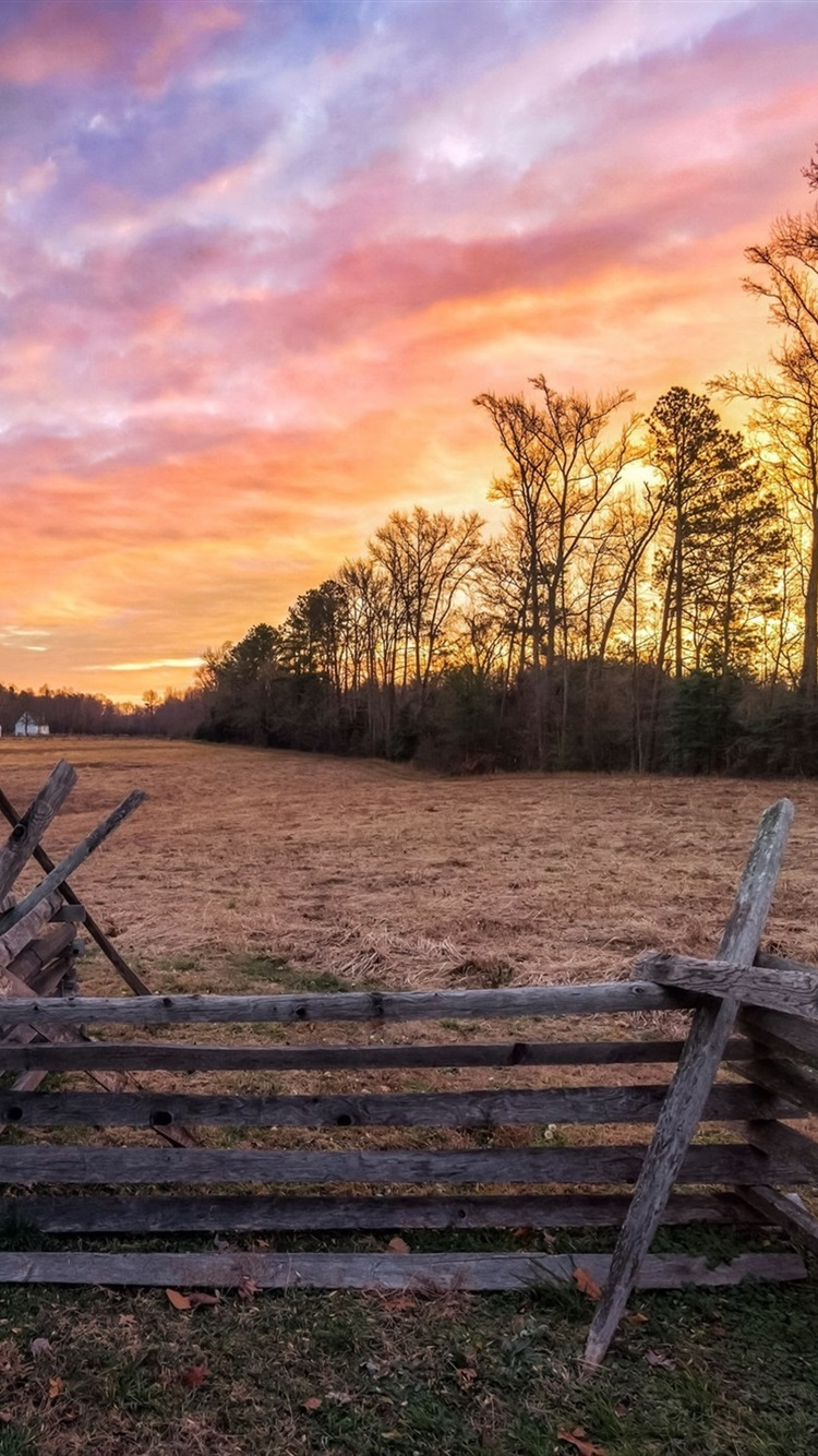 Countryside Fence House Trees Sunset 750x1334 Iphone 8 7