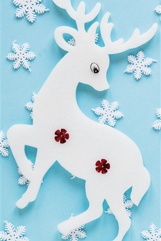 iPhone Wallpaper Creative art, deer, snowflakes, texture