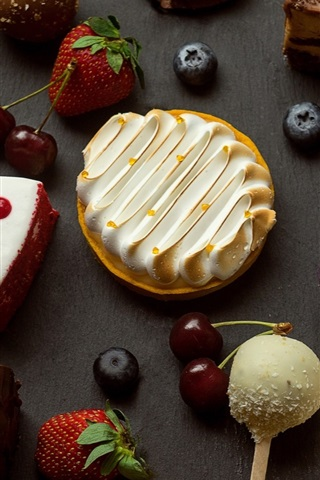 iPhone Wallpaper Dessert, cake slice, strawberry, cherry
