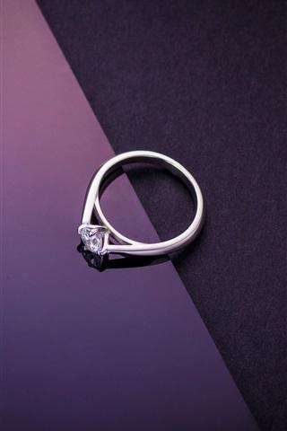 iPhone Обои Алмазное кольцо, фиолетовый черный фон