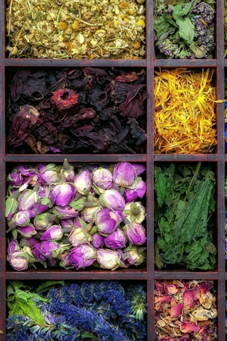 iPhone Wallpaper Dry flowers, flower tea