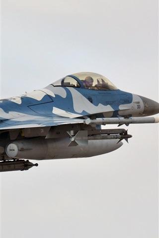 iPhone Wallpaper F-16C Falcon fighter, flight