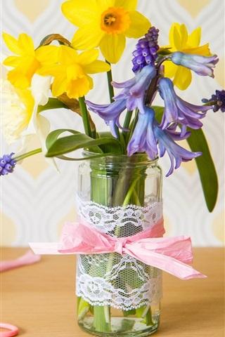 iPhone Wallpaper Flowers, hyacinth, daffodils