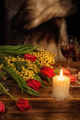 iPhone Wallpaper Flowers, red tulips, candle, flame, wine, romantic