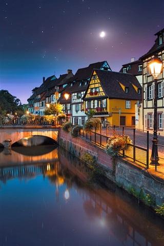 iPhone Wallpaper France, Colmar, river, bridge, houses, lights, night