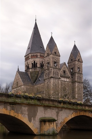 iPhone Wallpaper France, Metz, river, bridge, houses
