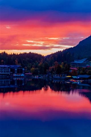 iPhone Wallpaper Germany, Bavaria, lake, buildings, city, sunset