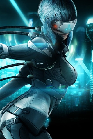 iPhone Wallpaper Ghost in the Shell, girl, gun