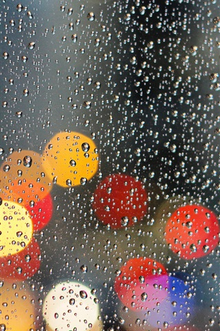 iPhone Wallpaper Glass, water drops, light circles