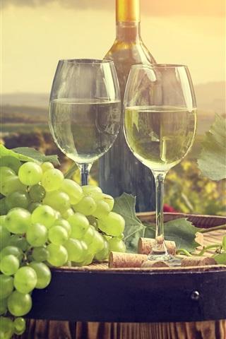 iPhone Wallpaper Grapes, wine, barrel, glass cups