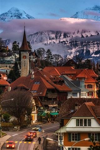 iPhone Wallpaper Gundlischwand, Switzerland, street, houses, trees, mountains, dusk