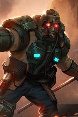 iPhone Papéis de Parede Heróis de Newerth, máscara de gás, guerreiro