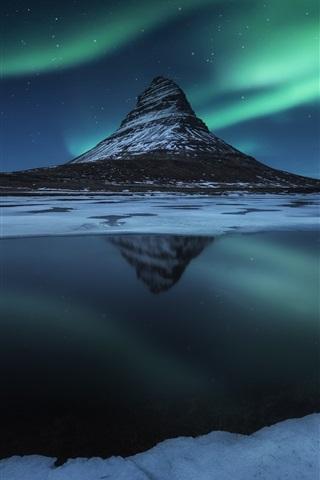 iPhone Wallpaper Iceland, Kirkjufell mountain, snow, night, northern lights