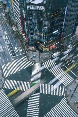 iPhone Wallpaper Japan, city, street, buildings, cars, top view