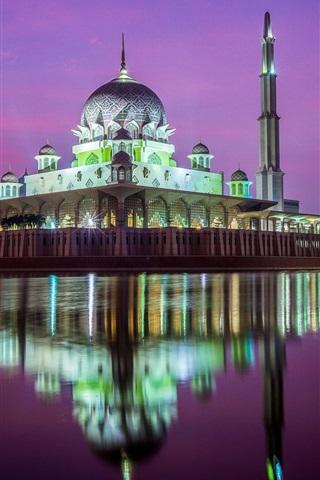 iPhone Wallpaper Kuala Lumpur, mosque, night, river, water reflection, Malaysia