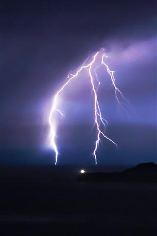 iPhone Обои Молния, ночь, гроза, облака