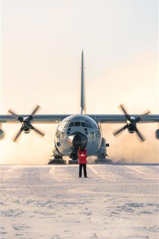 iPhone Wallpaper Lockheed LC-130 Hercules, plane, south pole, snow