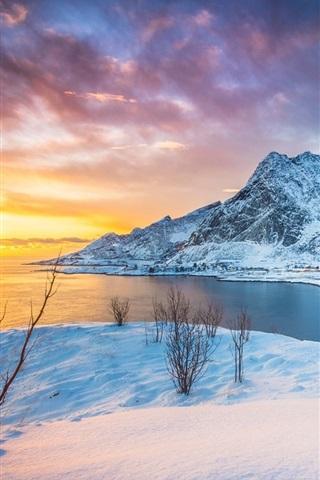 iPhone Wallpaper Lofoten Islands, Norway, sunset, lake, mountains, snow, winter