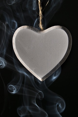 iPhone Wallpaper Love heart pendant, smoke, black background