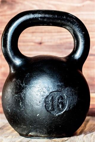 iPhone Wallpaper Metal kettlebell, gym