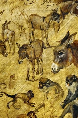 iPhone Wallpaper Monkeys, horses, sketches of animals
