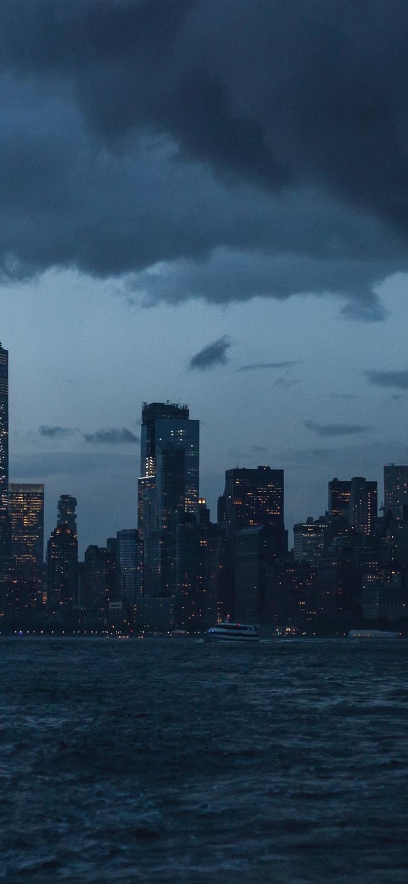 New York Nachtansicht Wolkenkratzer Fluss Usa 1080x1920