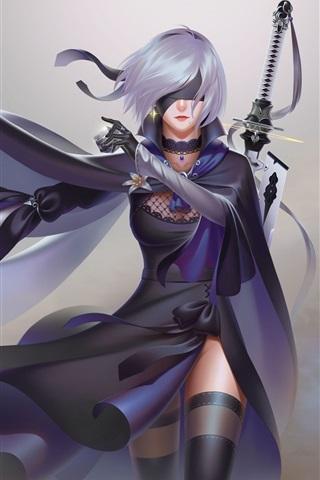 iPhone Wallpaper Nier: Automata, white hair girl, sword