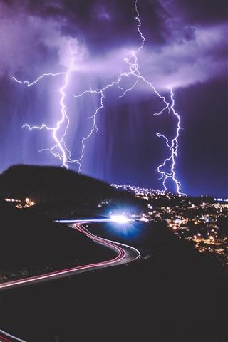 iPhone Wallpaper Night, city, roads, light lines, lightning