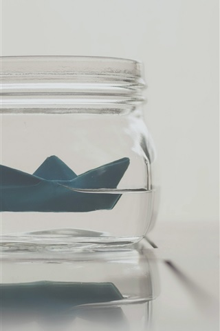 iPhone Wallpaper Paper boat, glass bottle