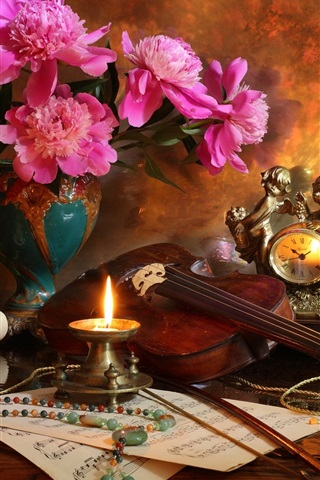 iPhone Wallpaper Peonies, candle, flame, violin, music score